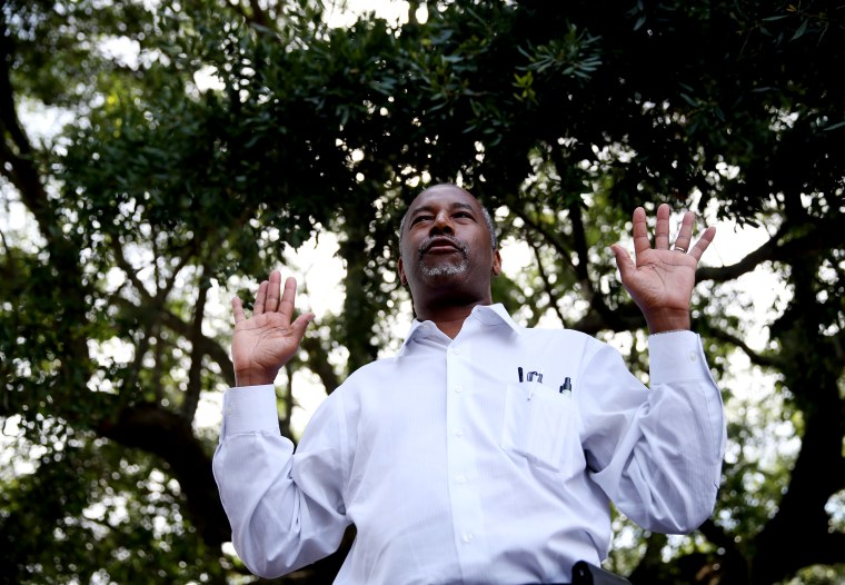 Republican presidential hopeful Ben Carson speaks during a campaign stop at the Mount Pleasant Farmers Market, May 26, 2015 in Mt Pleasant, S.C. (Photo by Joe Raedle/Getty)