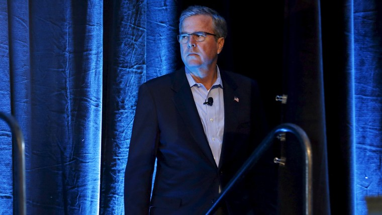 Former Governor of Florida Jeb Bush waits for his introduction at the Iowa Agriculture Summit in Des Moines, Iowa, in this March 7, 2015 file photo. (Photo by Jim Young/Reuters)