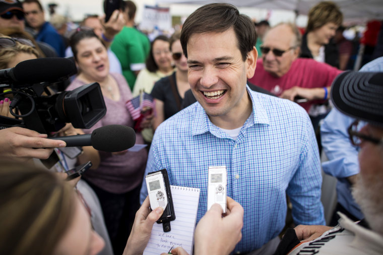 Republican presidential candidate Sen. Marco Rubio greets people during Jonis Roast & Ride, a daylong political fund-raiser for GOP candidates, in Boone, Ia., June 06, 2015. (Photo by Jabin Botsford/The Washington Post/Getty)
