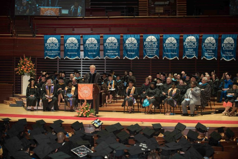 Chris Matthews delivers the commencement address at Peirce College in Philadelphia on June 11, 2015.
