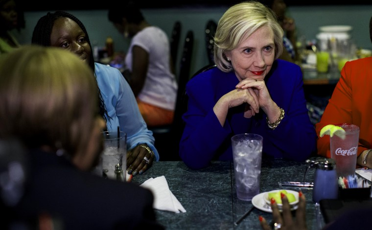 Former Secretary of State Hillary Clinton meets with community leaders at Kiki's Chicken and Waffles in Columbia, S.C., May 27, 2015. (Photo by Melina Mara/The Washington Post/Getty)