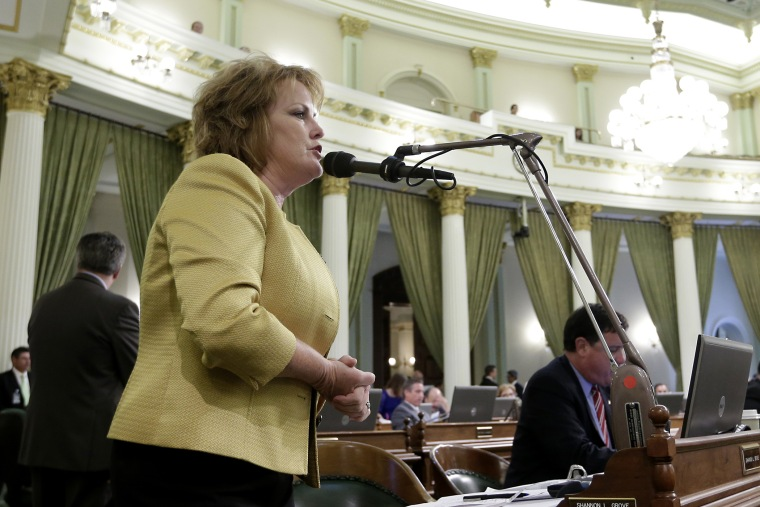 Assemblywoman Shannon Grove calls for the Assembly to reject one of the state budget trailer bills at the Capitol in Sacramento, Calif. on June 15, 2014. (Photo by Rich Pedroncelli/AP)