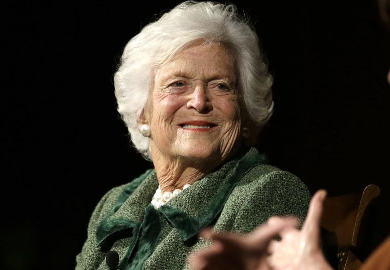 Former first lady Barbara Bush at an event, Nov. 15, 2013, in Austin, Texas. (Photo by David J. Phillip/AP)