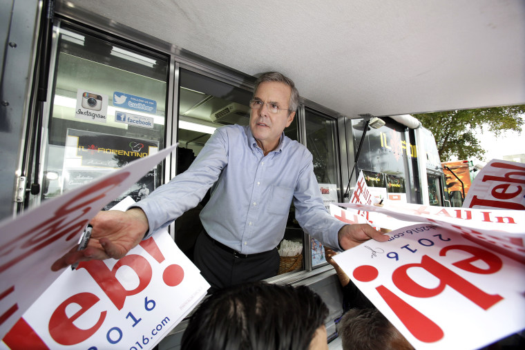Former Florida Gov. Jeb Bush signs autographs from the window of a food truck after he formally announced that he would join the race for president with a speech at Miami Dade College, June 15, 2015, in Miami. (Photo by Wilfredo Lee/AP)