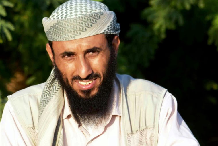Al-Qaeda in the Arabian Peninsula (AQAP) chief Nasser al-Wuhayshi is pictured in the militant stronghold town of Jaar, in the southern Abyan province, on April 28, 2012. (Photo by stringer/AFP/Getty)