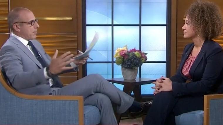 Rachel Dolezal is interviewed by Matt Lauer on the Today show, June 16, 2015. (Screen shot courtesy of NBC)