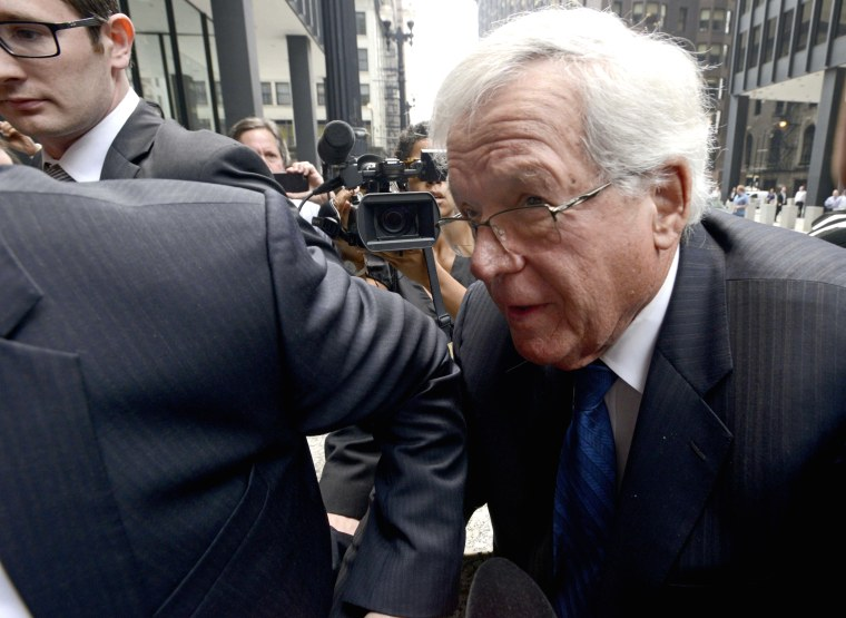 Former House Speaker Dennis Hastert arrives at the federal courthouse, in Chicago, for his arraignment on federal charges that he broke federal banking laws and lied about the money when questioned by the FBI, June 9, 2015. (Photo by Paul Beaty/AP)