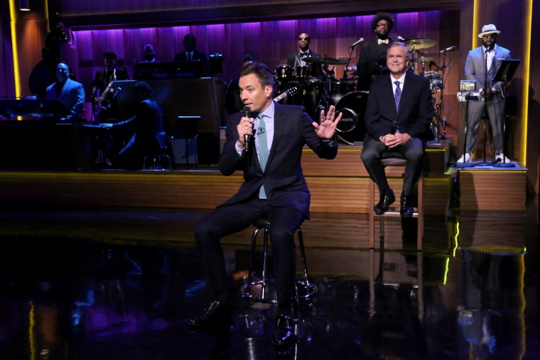 "Host Jimmy Fallon and Former Governor Jeb Bush ""Slow Jam the News"" on The Tonight Show, June 16, 2015.(Photo by Douglas Gorenstein/NBC/NBCU Photo Bank/Getty)"