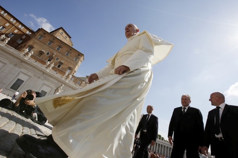 Pope Francis arrives to lead his Wednesday general audience in Saint Peter's square at the Vatican, June 17, 2015. (Photo by Max Rossi/Reuters)