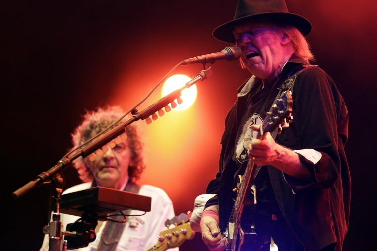 Canadian musician Neil Young and his band Crazy Horse perform at the Paleo Festival in Nyon late July 23, 2013. (Photo by Denis Balibouse/Reuters)