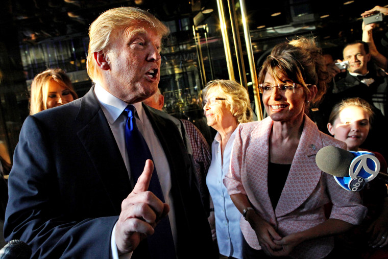 Donald Trump makes a point as he walks with former governor of Alaska Sarah Palin in New York, N.Y., as they make their way to a scheduled meeting, May 31, 2010. (Photo by Craig Ruttle/AP)