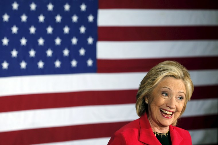 Democratic presidential candidate Hillary Clinton speaks at a campaign launch party at Carter Hill Orchard in Concord