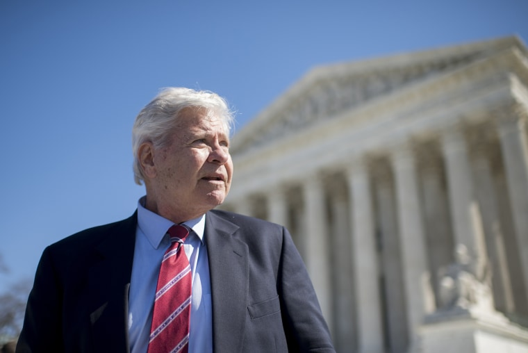 """Former Rep. Ben """"Cooter"""" Jones, member of the Sons of Confederate Veterans, speaks outside of the U.S. Supreme Court following arguments in the Walker v. Sons of Confederate Veterans case, March 23, 2015. (Photo By Bill Clark/CQ Roll Call/Getty)"""