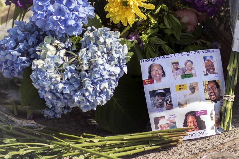 Flowers and notes of hope and support from the community line the sidewalk, June 19, 2015 in front of the Emanuel AME Church in Charleston, S.C. (Photo by Stephen B. Morton/AP)