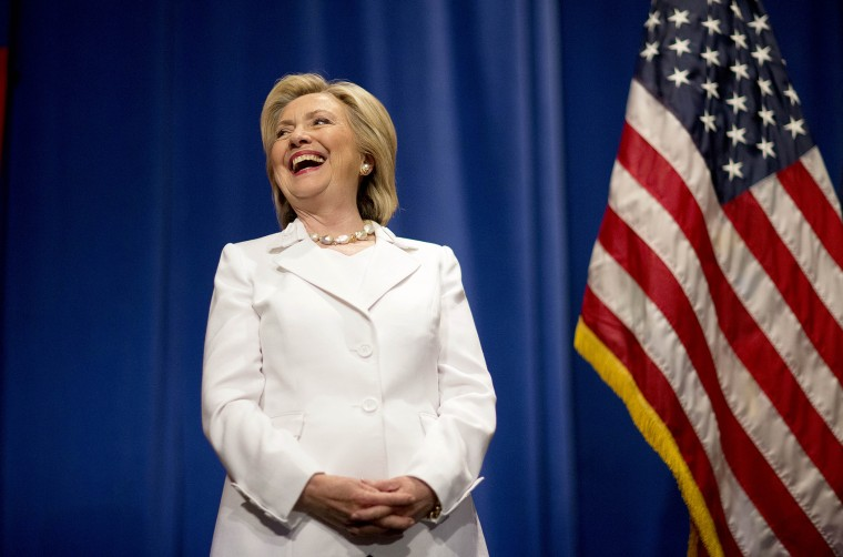 Democratic presidential candidate Hillary Rodham Clinton steps onstage to address an audience at Trident Technical College during a campaign stop, June 17, 2015, in North Charleston, S.C. (Photo by David Goldman/AP)