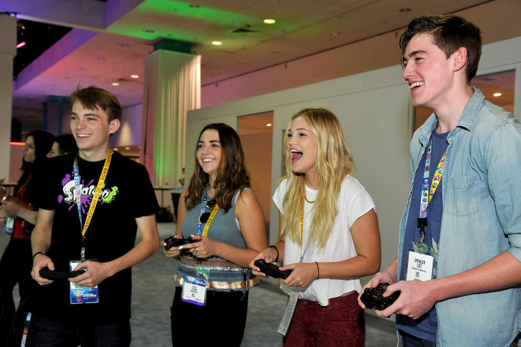 (L-R) Dylan Riley Snyder, Natalie Bacon, Olivia Holt and Spencer List attend the Nintendo hosts celebrities at 2015 E3 Gaming Convention at Los Angeles Convention Center on June 16, 2015 in Los Angeles, Calif. (Photo by John Sciulli/Getty)