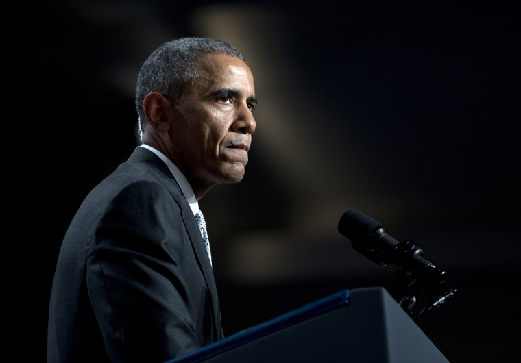 President Barack Obama pauses as he speaks about gun violence at the Annual Meeting of the U.S. Conference of Mayors in San Francisco, June 19, 2015. (Photo by Carolyn Kaster/AP)