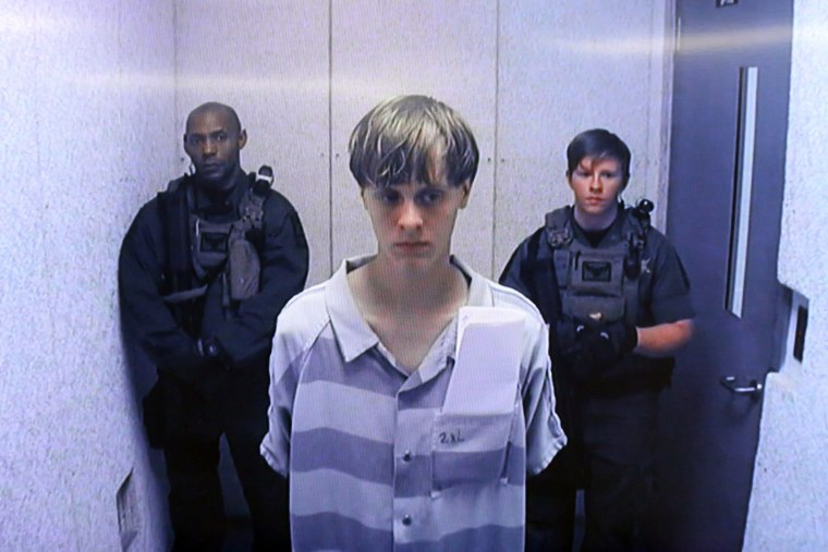 Dylann Roof appears at Centralized Bond Hearing Court June 19, 2015 in North Charleston, S.C. (Photo by Grace Beahm/Pool/Getty)