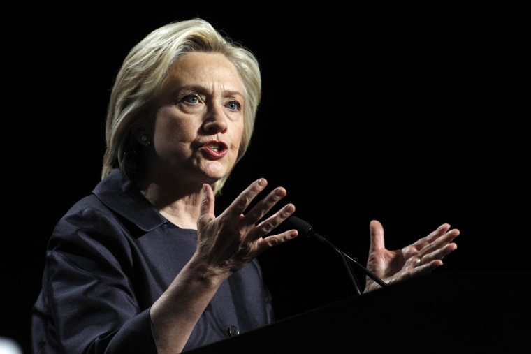Democratic presidential candidate Hillary Rodham Clinton speaks at the U.S. Conference of Mayors 83rd Annual Meeting in San Francisco, Calif. on June 20, 2015. (Photo by Mathew Sumner/AP)