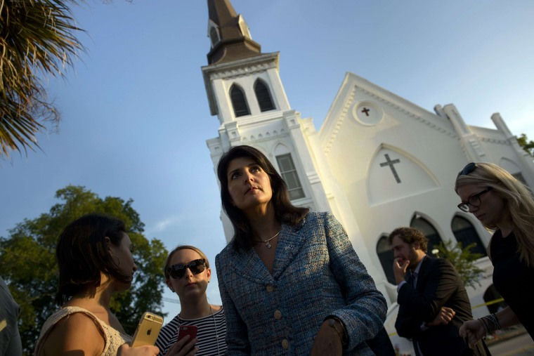 South Carolina Governor Nikki Haley waits to speak to press outside the Emanuel AME Church June 19, 2015 in Charleston, S.C. (Photo by Brendan Smialowski/AFP/Getty)
