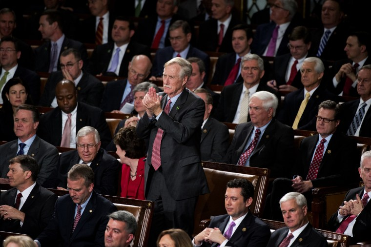 Sen. Angus King, I-Me., applauds in the Capitol's House chamber during President Barack Obama's State of the Union address, Jan. 20, 2015. (Photo By Tom Williams/CQ Roll Call/Getty)