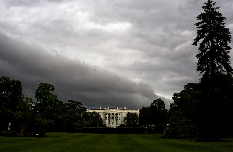 The White House is seen under dark rain clouds in Washington, DC, on June 1, 2015. (Photo by Andrew Caballero-Reynolds/AFP/Getty)