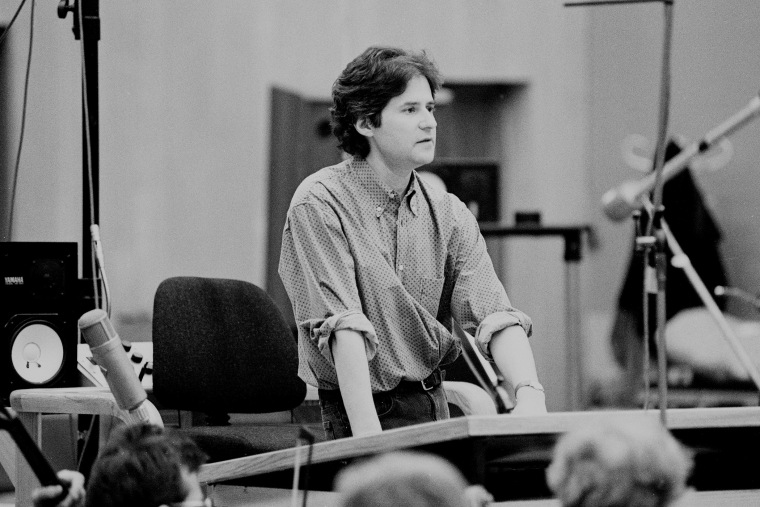 James Horner is pictured in the recording studio, working on score to Braveheart film. (Photo by Phil Dent/Redferns/Getty)