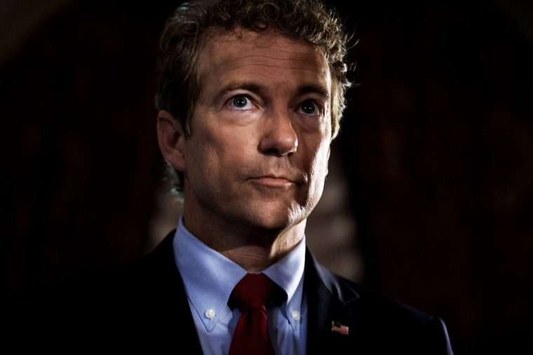 Sen. Rand Paul, R-Ky., prepares to address the Faith & Freedom Coalition's Road to Majority conference which featured speeches by conservative politicians at the Omni Shoreham Hotel, June 18, 2015. (Photo By Tom Williams/CQ Roll Call/AP)