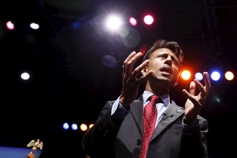 Republican Governor of Louisiana Bobby Jindal speaks at the Iowa Faith and Freedom Coalition's forum in Waukee, Iowa, April 25, 2015. (Photo by Jim Young/Reuters)