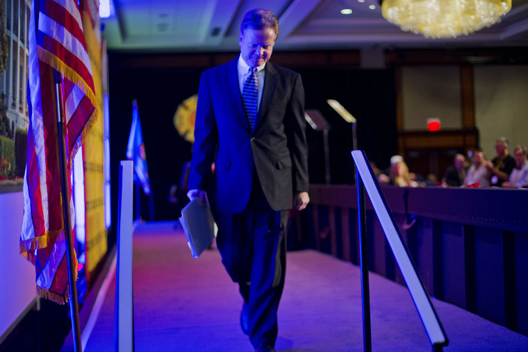 Former Virginia Sen. Jim Webb walks off stage after speaking at the International Association of Firefighters (IAFF) Legislative Conference and Presidential Forum in Washington, D.C., March 10, 2015. (Photo by Pablo Martinez Monsivais/AP)