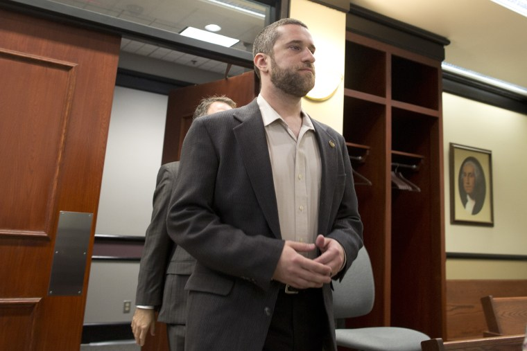 Dustin Diamond enters the courtroom during his trial in the Ozaukee County Courthouse in Port Washington, Wis. on May 29, 2015 (Photo by Jeffrey Phelps/Getty).