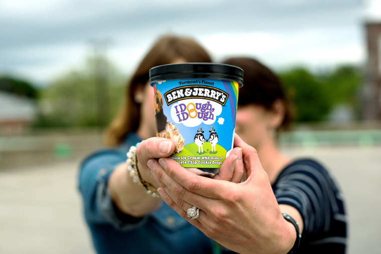 Chocolate Chip Cookie Dough has been renamed to I Dough, I Dough in participating Ben & Jerry's Scoop Shops. (Photo by Ben and Jerry's/Business Wire)