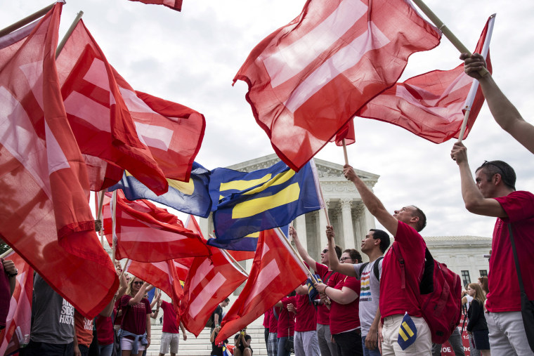 Supporters of gay marriage rally in front of the Supreme Court in Washington on June 25, 2015. (Photo by Joshua Roberts/Reuters)