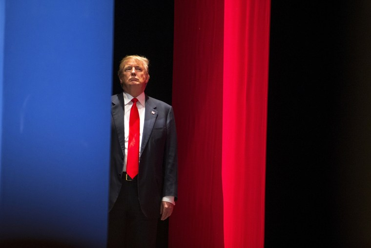 Real estate developer Donald Trump prepares to go on stage to speak during the Freedom Summit in Greenville, South Carolina May 9, 2015. (Photo by Chris Keane/Reuters)