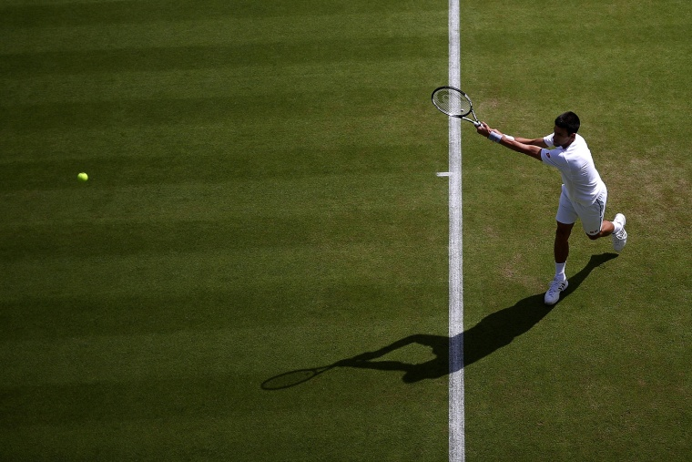 Novak Djokovic of Serbia trains on day one of the Wimbledon tennis tournament on June 29, 2015 in London, England.