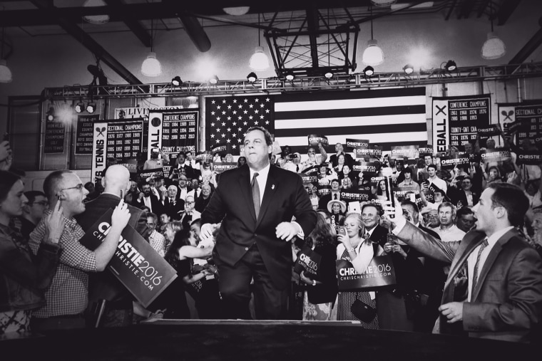 New Jersey Gov. Chris Christie takes the stage during an event announcing that he will seek the Republican nomination for president, June 30, 2015, at Livingston High School in Livingston, N.J. (Photo by Mark Peterson/Redux for MSNBC).