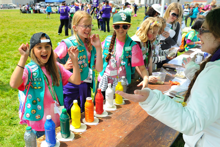 Girl Scouts enjoy ceremony activities at the Girl Scouts of the USA and National Park Service Host a Girl Scout Bridging Ceremony on May 2, 2015 in San Francisco, Calif. (Photo by Steve Jennings/Getty)