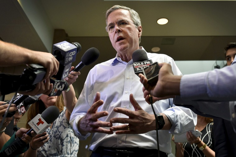 Republican presidential candidate and former Florida Governor Jeb Bush speaks with members of the media after a town hall meeting in Henderson, Nevada June 27, 2015. (Photo by David Becker/Reuters)