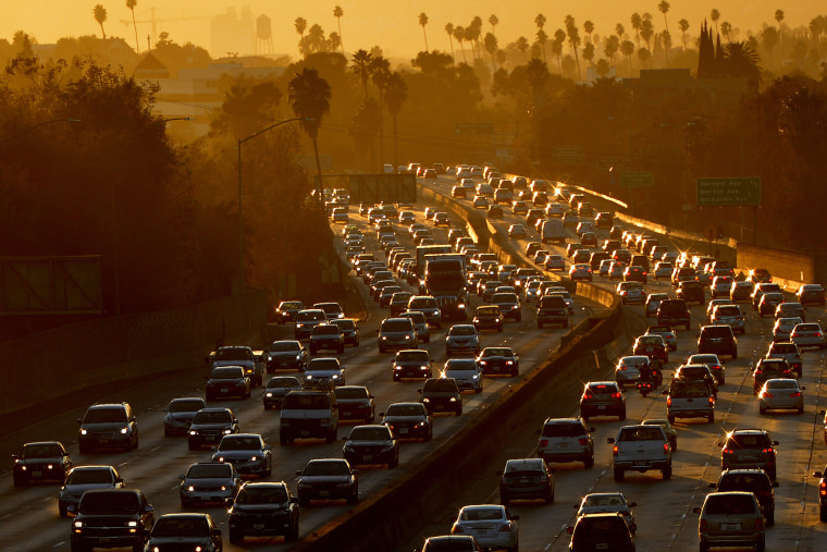 Heavy traffic clogs the 101 Freeway in Los Angeles. (Photo by Mark Ralston/AFP/Getty)