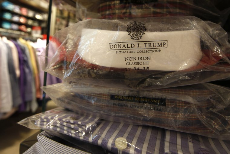 A Donald Trump menswear collection dress shirt is shown as part of a display of heavily-discounted shirts at Macy's Herald Square flagship store in New York.