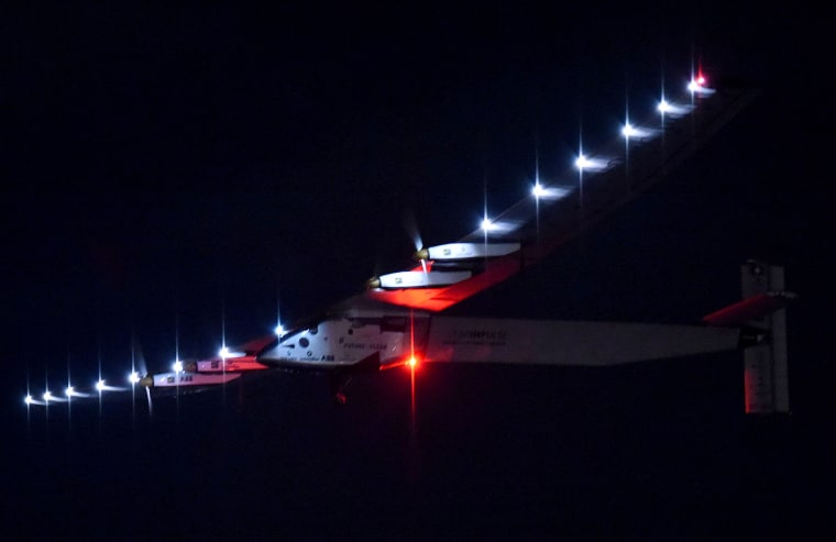 Solar Impulse 2 takes off for Hawaii from Nagoya Airport in Toyoyama, Aichi Prefecture before dawn on June 29, 2015. (Photo by The Yomiuri Shimbun/AP)