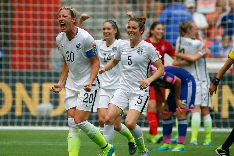 Abby Wambach #20 of the United States celebrates the 5-2 victory against Japan in the FIFA Women's World Cup Canada 2015 Final on July 5, 2015 in Vancouver, Canada. (Photo by Kevin C. Cox/Getty)