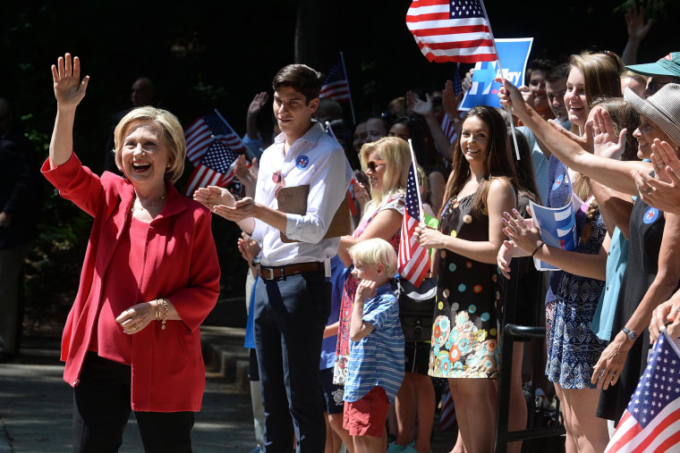 Democratic Presidential Candidate Hillary Clinton Campaigns In Hew Hampshire