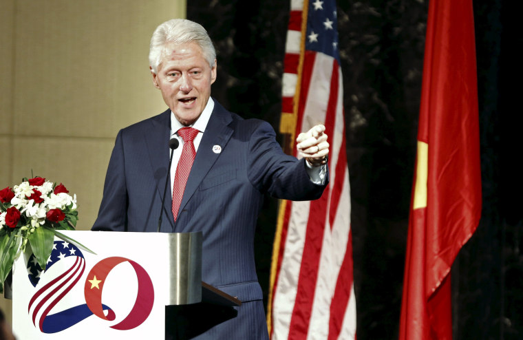Former U.S. President Bill Clinton speaks at an event celebrating the 239th anniversary of the U.S. Independence Day in Hanoi