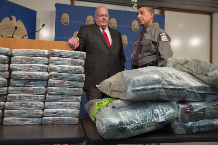 Some of the nearly 155 pounds of heroin seized in the raid of a stash house in the Bronx borough of New York.