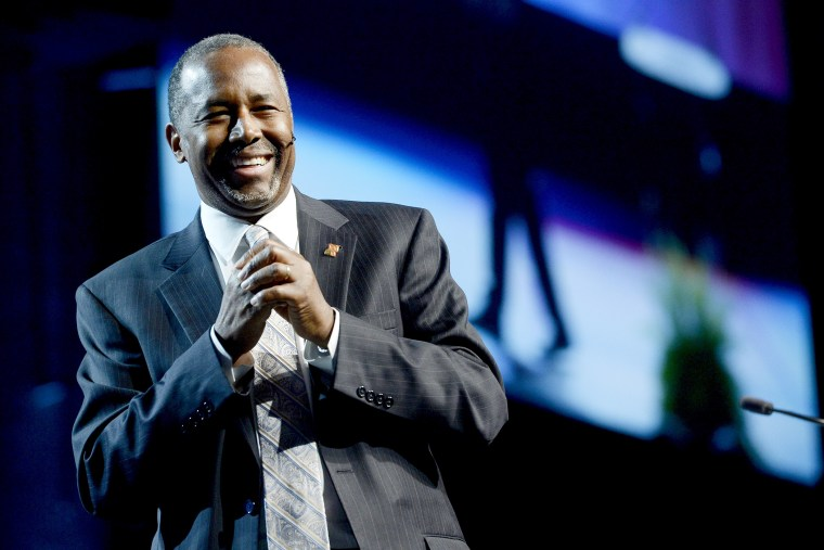 Presidential Candidate Ben Carson laughs during his speech at the Western Conservative Summit in Denver, Colo. on June 27, 2015. (Photo by Mark Leffingwell/Reuters)