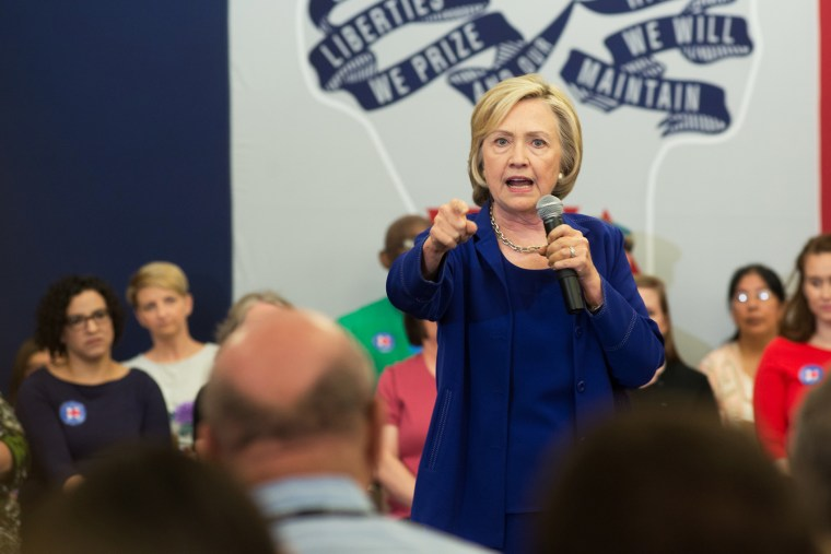 Former Secretary of State and presidential candidate Hillary Clinton addresses supporters at an organizational rally on July 7, 2015 at the Iowa City Public Library in Iowa City, Iowa. (Photo by David Greedy/Getty)