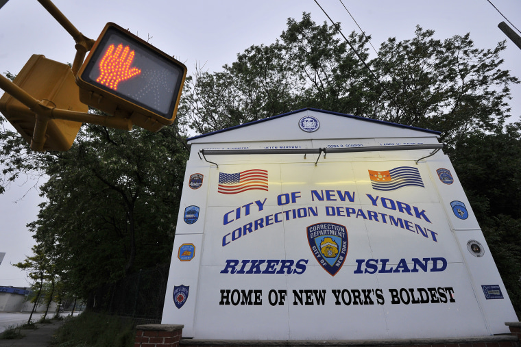 A sign for Rikers Island is pictured in Queens, New York. (Photo by Jewel Samad/AFP/Getty)