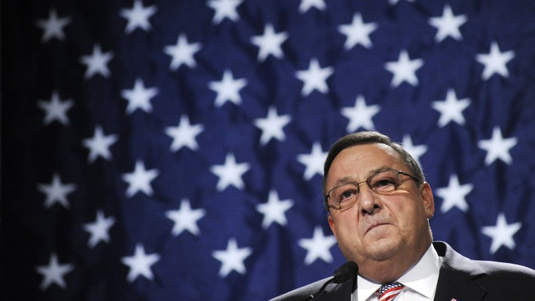 Governor Paul LePage speaks during the Republican Party State Convention, May 6, 2012. (Photo by Shawn Patrick Ouellette/Portland Press Herald/Getty)
