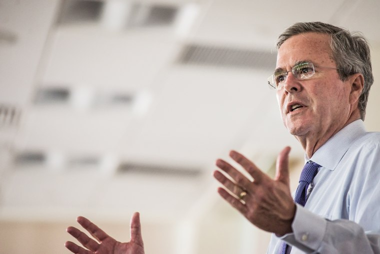 Republican presidential candidate and former Florida Gov. Jeb Bush answers questions from employees of Nephron Pharmaceutical Company June 29, 2015 in West Columbia, S.C. (Photo by Sean Rayford/Getty)